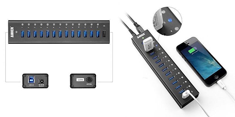 Anker Aluminium 13-Port USB 3.0 Hub + 5V 2.1A Smart Charging Port | AH241