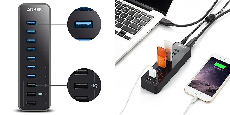 Anker 60W 7-Port USB 3.0 Data Hub with 3 PowerIQ Charging Ports
